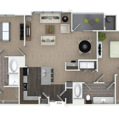 2 bedroom 2 bathroom B3 floorplan at Talia Apartments in Marlborough, MA