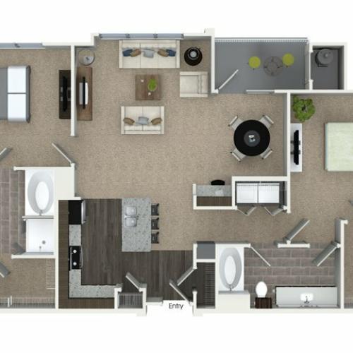 2 bedroom 2 bathroom B3 floorplan at Talia Apartments in Marlborough, MA