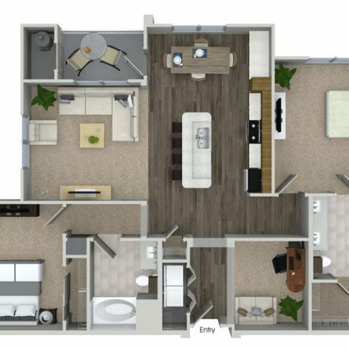 2 bedroom 2 bathroom B4D floorplan at Talia Apartments in Marlborough, MA