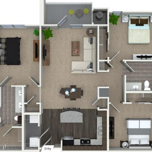 3 bedroom 2 bathroom C1 floorplan at Talia Apartments in Marlborough, MA