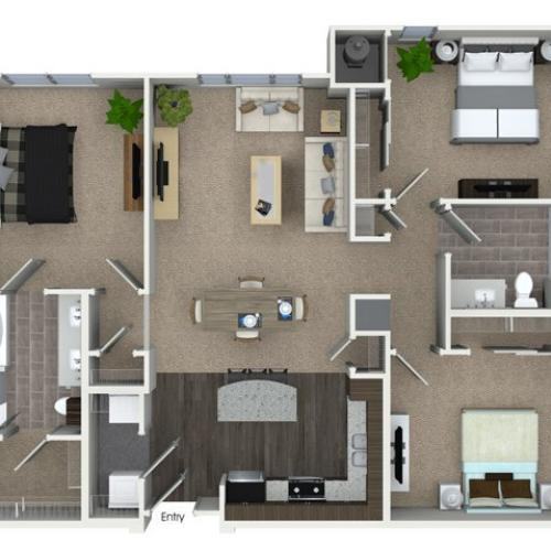 3 bedroom 2 bathroom C1A floorplan at Talia Apartments in Marlborough, MA