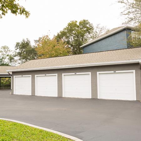 Detached garages at Arbor Walk Apartments in Tampa, FL
