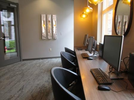 Business center at Sanctuary Apartments in Renton WA