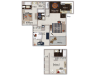 Three bedroom three bathroom C1 Floorplan at Atwood Apartments in Citrus Heights, CA