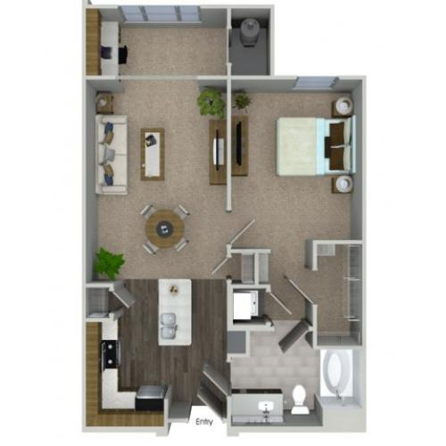 A1SA 1 bedroom 1 bathroom floorplan at Talia Apartments in Marlborough, MA