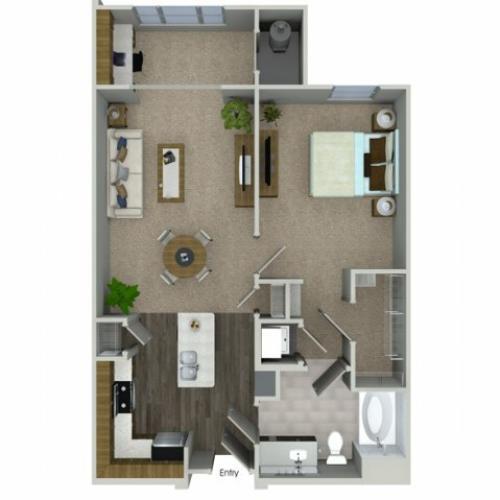 A1SA 1 bedroom 1 bathroom floorplan at Talia Apartments in Marlborough, MA