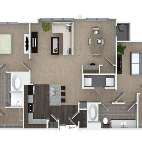 2 bedroom 2 bathroom B3SA floorplan at Talia Apartments in Marlborough, MA