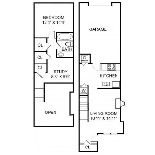 One bedroom one bathroom A3THL floorplan at Williamsburg Townhomes Rental Homes in Sagamore Hills, OH