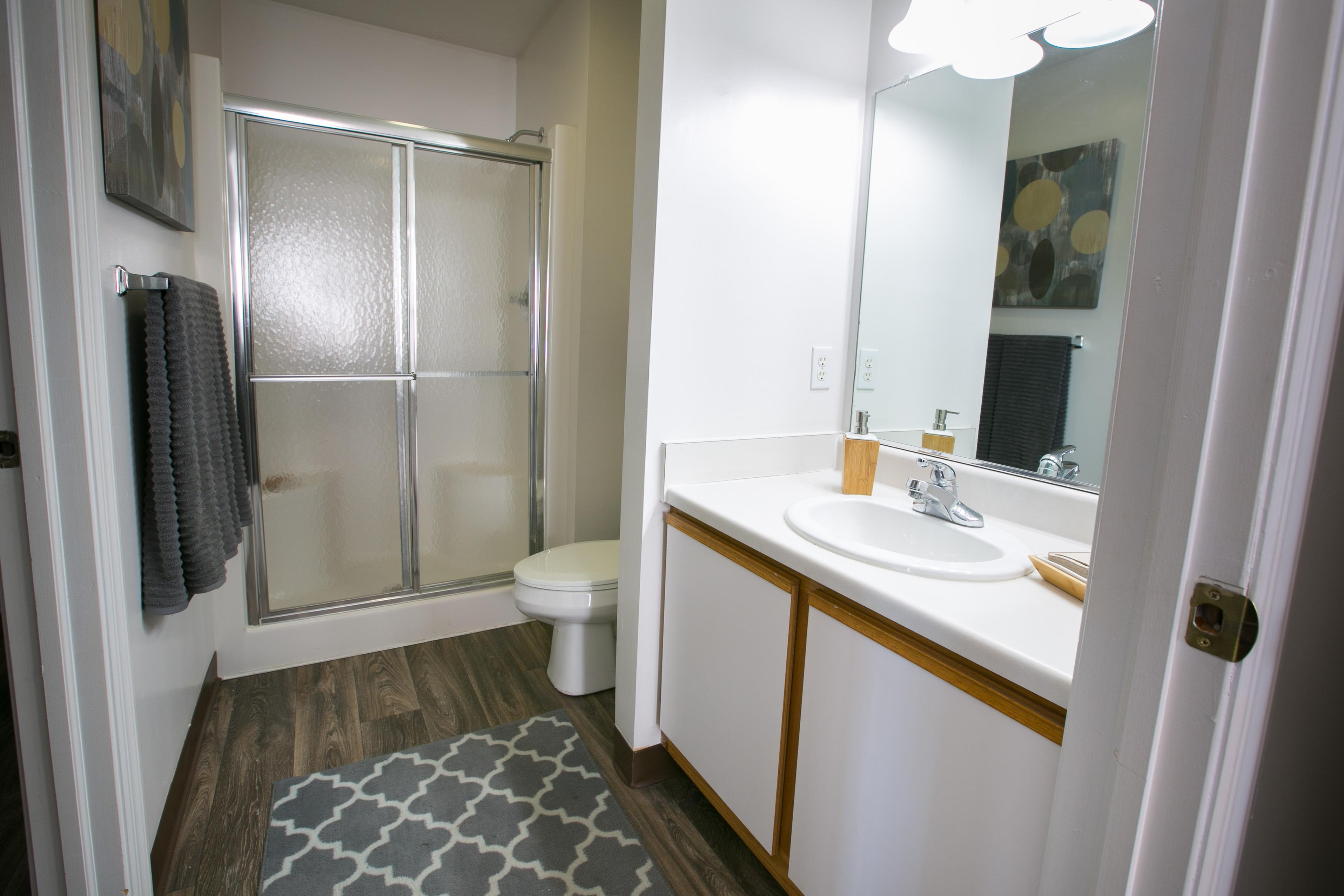 Spacious bathrooms at The Village of Western Reserve Apartments in  Streetsboro, OH