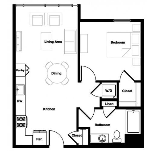 One bedroom one bathroom A2 Floorplan at L Seven Apartments in San Francisco, CA
