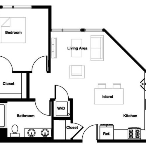 One bedroom one bathroom A3 Floorplan at L Seven Apartments in San Francisco, CA