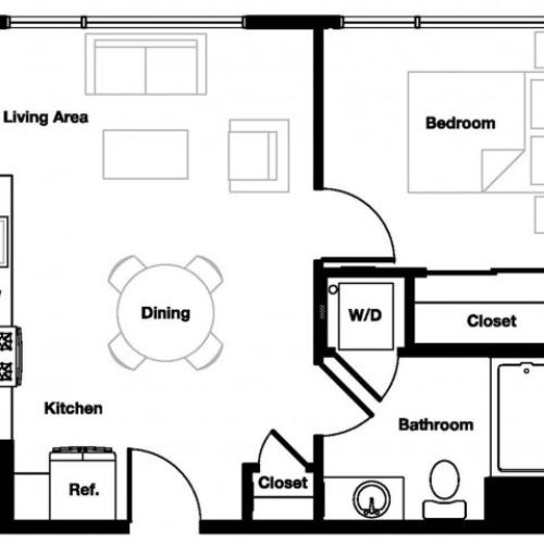 One bedroom one bathroom A5 Floorplan at L Seven Apartments in San Francisco, CA