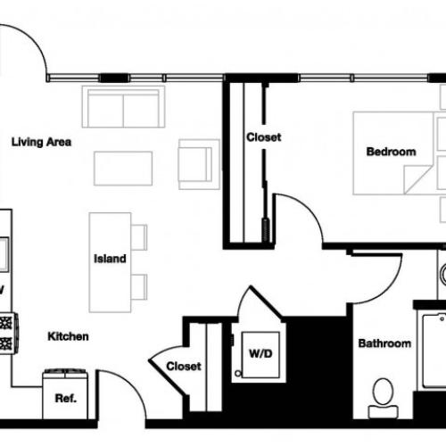 One bedroom one bathroom A6 Floorplan at L Seven Apartments in San Francisco, CA