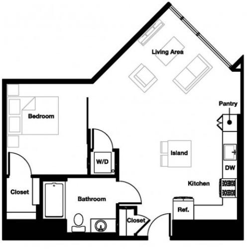 One bedroom one bathroom A7 Floorplan at L Seven Apartments in San Francisco, CA