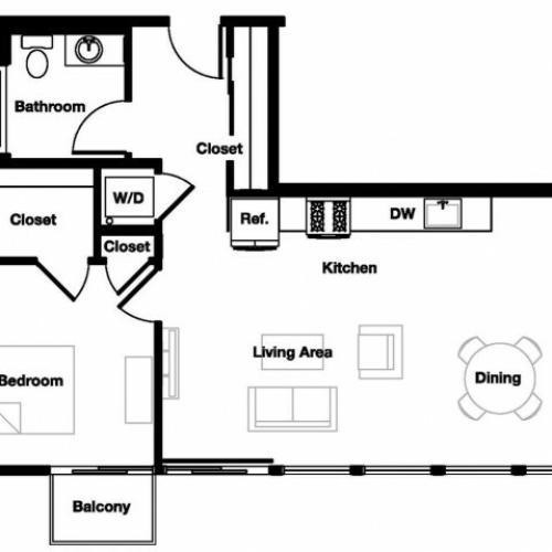 One bedroom one bathroom A8 Floorplan at L Seven Apartments in San Francisco, CA