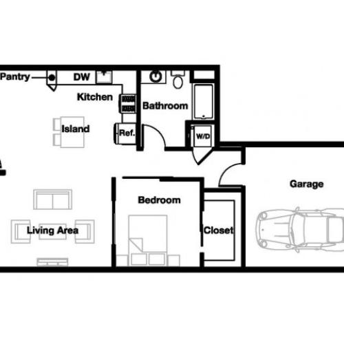 One bedroom one bathroom A9 Floorplan at L Seven Apartments in San Francisco, CA
