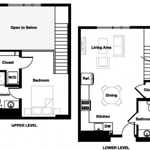One bedroom one and a half bathroom A11L Floorplan at L Seven Apartments in San Francisco, CA