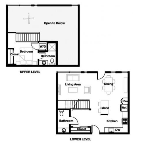One bedroom one and a half bathroom A12L Floorplan at L Seven Apartments in San Francisco, CA
