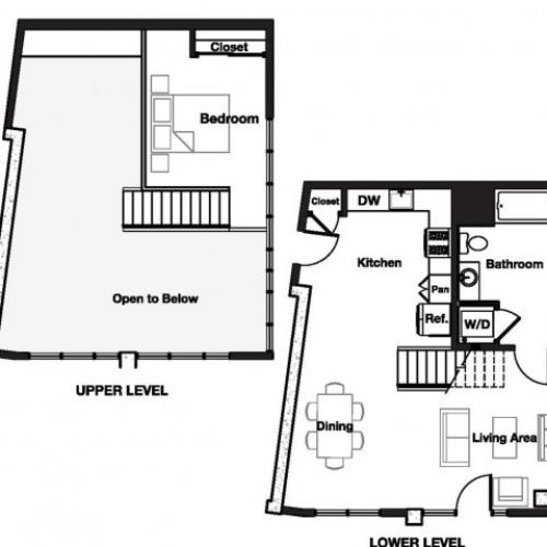 One bedroom one and a half bathroom A13L Floorplan at L Seven Apartments in San Francisco, CA