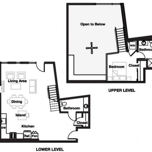 One bedroom one and a half bathroom A14L Floorplan at L Seven Apartments in San Francisco, CA