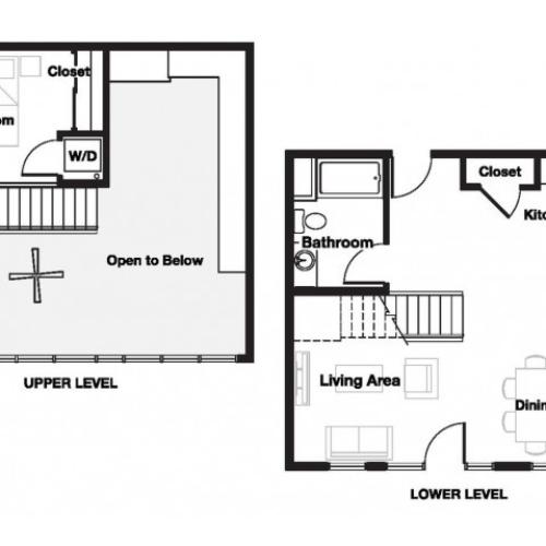 One bedroom one and a half bathroom A15L Floorplan at L Seven Apartments in San Francisco, CA