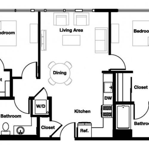 Two bedroom two bathroom B1 Floorplan at L Seven Apartments in San Francisco, CA