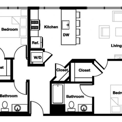 Two bedroom two bathroom B2 Floorplan at L Seven Apartments in San Francisco, CA