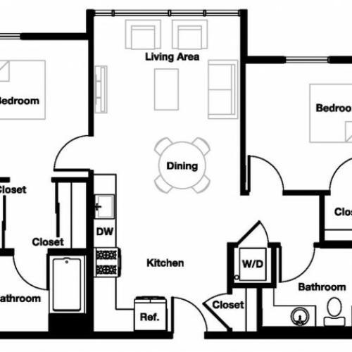 Two bedroom two bathroom B3 Floorplan at L Seven Apartments in San Francisco, CA