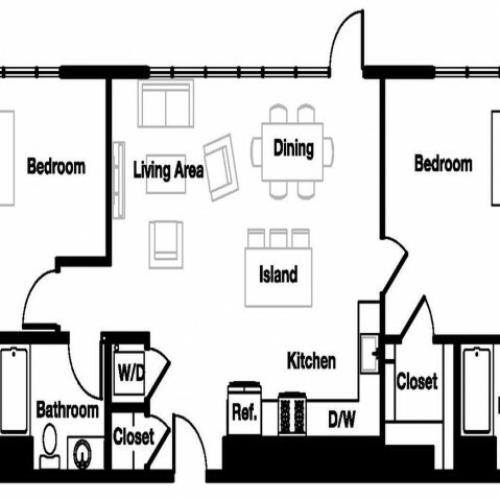 Two bedroom two bathroom B4 Floorplan at L Seven Apartments in San Francisco, CA