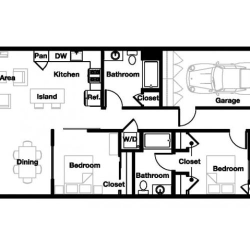 Two bedroom two bathroom B6 Floorplan at L Seven Apartments in San Francisco, CA