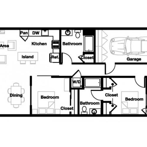 Two bedroom two bathroom B6 Floorplan at L Seven Apartments in San Francisco, CA