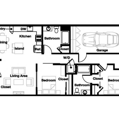 Two bedroom two bathroom B7 Floorplan at L Seven Apartments in San Francisco, CA