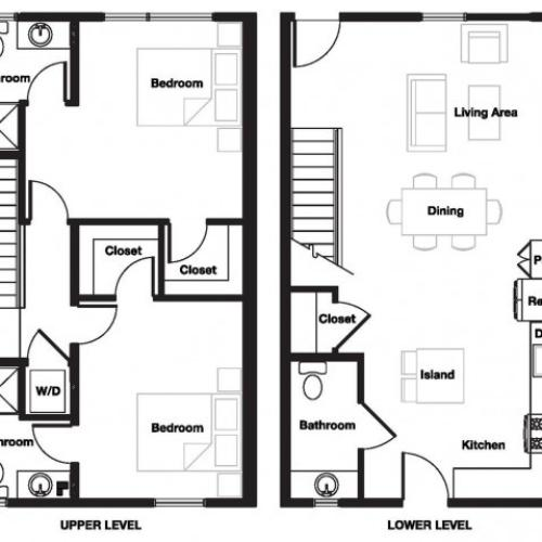 Two bedroom two and a half bathroom B8TH Floorplan at L Seven Apartments in San Francisco, CA