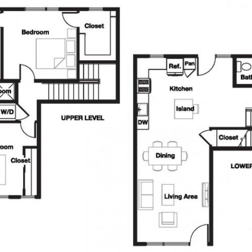Two bedroom two and a half bathroom B9TH Floorplan at L Seven Apartments in San Francisco, CA