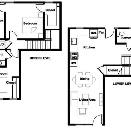 Two bedroom two and a half bathroom B10TH Floorplan at L Seven Apartments in San Francisco, CA