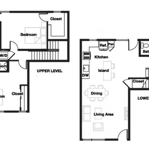 Two bedroom two and a half bathroom B11TH Floorplan at L Seven Apartments in San Francisco, CA