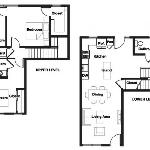 Two bedroom two and a half bathroom B12TH Floorplan at L Seven Apartments in San Francisco, CA
