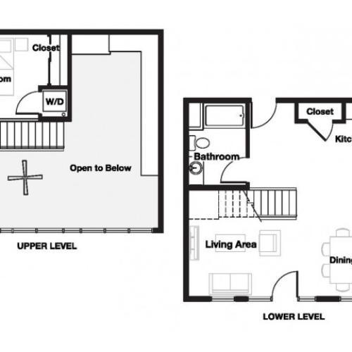 One bedroom one bathroom A16L Floorplan at L Seven Apartments in San Francisco, CA
