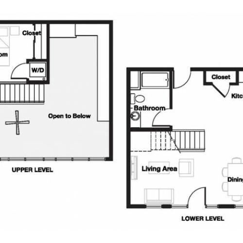 One bedroom one bathroom A16L Floorplan at L Seven Apartments in San Francisco, CA
