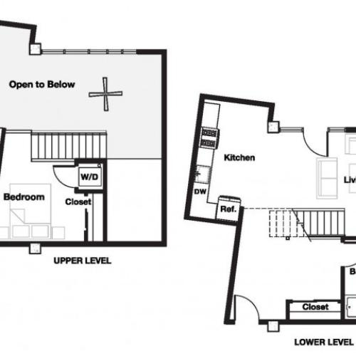 One bedroom one bathroom A17L Floorplan at L Seven Apartments in San Francisco, CA