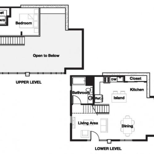 One bedroom one bathroom A18L Floorplan at L Seven Apartments in San Francisco, CA
