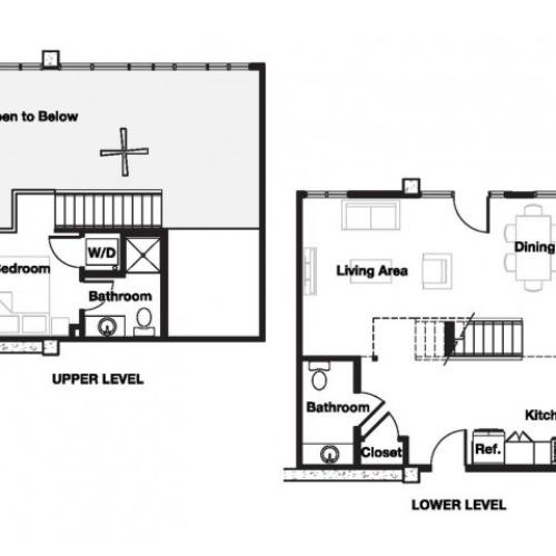 One bedroom one and a half bathroom A19L Floorplan at L Seven Apartments in San Francisco, CA