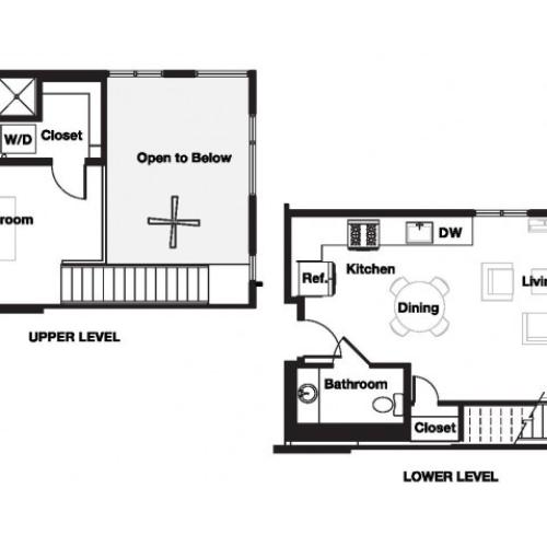 One bedroom one and a half bathroom A20L Floorplan at L Seven Apartments in San Francisco, CA