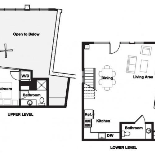 One bedroom one and a half bathroom A21L Floorplan at L Seven Apartments in San Francisco, CA