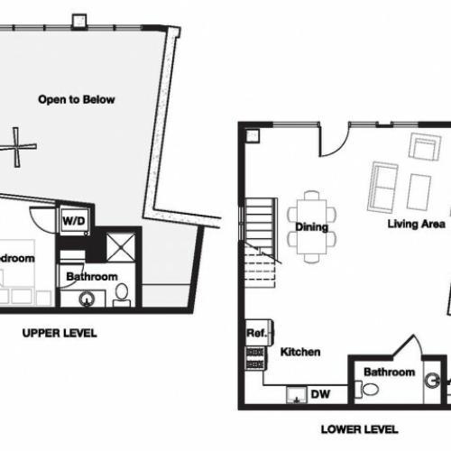 One bedroom one and a half bathroom A21L Floorplan at L Seven Apartments in San Francisco, CA