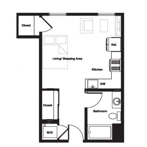 Studio One Bathroom S2 Floorplan at L Seven Apartments in San Francisco, CA
