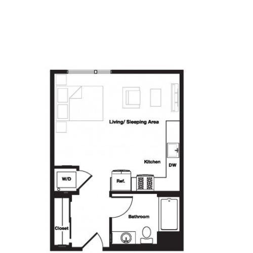 Studio One Bathroom S1 Floorplan at L Seven Apartments in San Francisco, CA