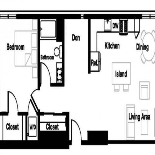 One bedroom one bathroom A4D Floorplan at L Seven Apartments in San Francisco, CA