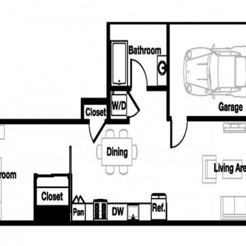 One bedroom one bathroom A10 Floorplan at L Seven Apartments in San Francisco, CA