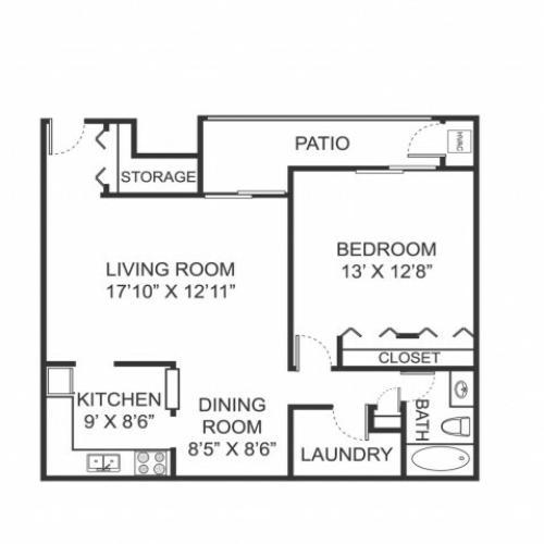 One bedroom one bathroom A1 floorplan at Arbor Landings Apartments in Ann Arbor, MI